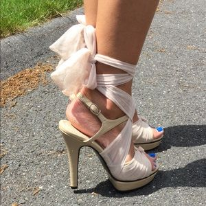 What I Want nude sandals / fabric lace up straps